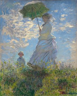 MONET: WOMAN WITH PARASOL. Oil on canvas, Claude Monet, 1875