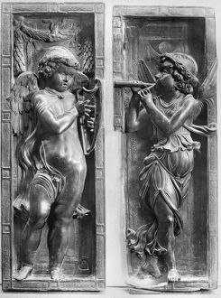 MUSICIAN ANGELS, c1450. Bronze figures by Donatello at the Basilica of Saint Anthony