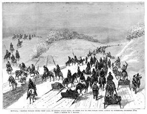 NATIVE AMERICAN SURRENDER. Lakota Native Americans under Chief Gall traveling to