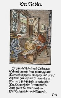 NEEDLE MAKER, 1568. Woodcut, 1568, by Jost Amman