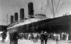 NEW YORK: LUSITANIA, 1907. The first appearance of the Cunard steamship