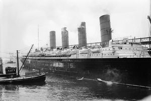 NEW YORK: LUSITANIA. The Cunard steamship 'Lusitania' at New York Harbor, c1910-15