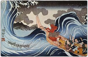 'Nichiren Calming the Storm.' Japanese Oban color print, 1835, by Utagawa