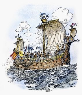 NORMAN WARSHIP, 1066. The ship in which William the Conquerer crossed the English