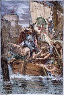 NORSEMEN: ROLLO, 885 A.D. Rollo (c860-c931) and his fleet of Norsemen attack the