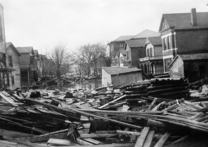 OHIO: FLOOD, 1913. Flood damaged houses in Dayton, Ohio, after the Great Dayton Flood