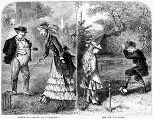 Never too old to play croquet, nor yet too young. Wood engraving, American, 1873