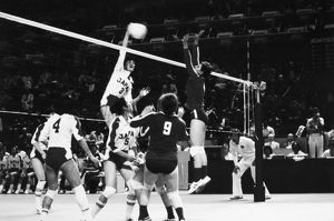 OLYMPICS: VOLLEYBALL, 1976. The Japanese women's volleyball team during a match