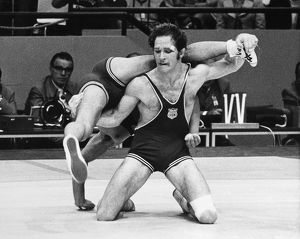 OLYMPICS: WRESTLING, 1972. Dan Gable of the USA wrestling Kikuo Wada of Japan during
