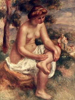 P.A. RENOIR: SEATED BATHER. Canvas.