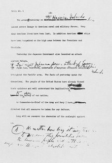 Page two of the first typed draft of President Franklin Roosevelt's speech to the U