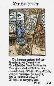 PAINTER, 1568. Woodcut, 1568, by Jost Amman