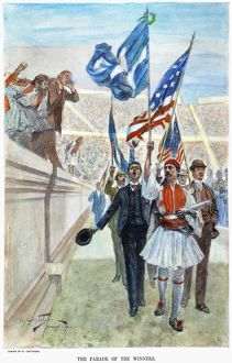 The parade of the winners at the first modern Olympic Games, held in 1896 at Athens, Greece