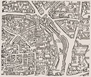PARIS: LATIN QUARTER, c1550. Detail from a plan of Paris, France, c1550, showing