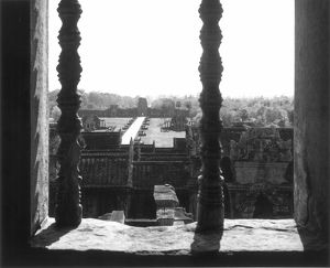 A partial view of the ruins at Angkor Wat. Photographed in 1960.