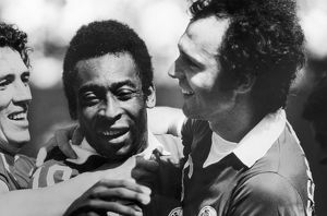 PELE & BECKENBAUER, c1977. New York Cosmos teammates Pele and Franz Beckenbauer (right)