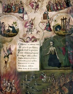 PENANCE, 18th CENTURY. Manuscript illuminuation showing acts of penance