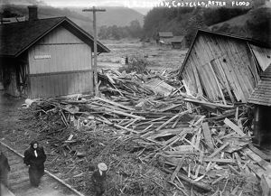 PENNSYLVANIA: FLOOD, 1911. A view of the ruined railroad station in Costello, Pennsylvania