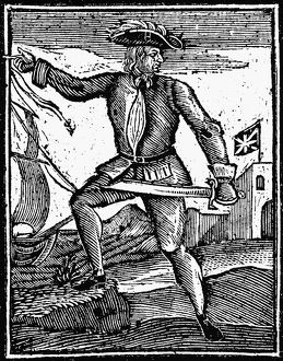 PIRATE: HOWELL DAVIS, 1725. Welsh pirate. English woodcut, 1725