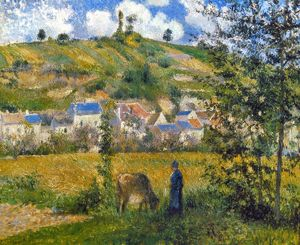 PISSARRO: CHAPONVAL, 1880. Camille Pissarro: Landscape at Chaponval. Oil on canvas, 1880.