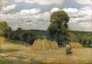 PISSARRO: HARVEST, 1876. Camille Pissarro: The Harvest at Montfoucault. Oil on canvas