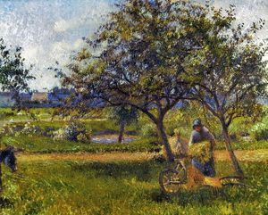 PISSARRO: WHEELBARR., 1881. Camille Pissarro: Wheelbarrow in an Orchard. Oil on canvas
