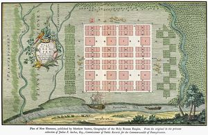 Plan of New Ebenezer, Georgia, established 1734 by Protestants from Salzburg