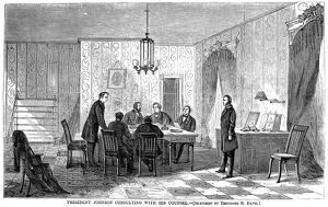 President Andrew Johnson consulting with his counsel