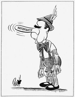 President Richard Nixon caricatured as Pinocchio in a cartoon by John Pierotti for