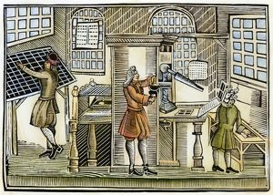 PRINTING OFFICE, c1710. Woodcut, English, c1710