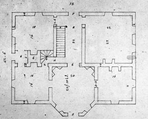Proposed plan for the Governor's Palace at Richmond Virginia, drawn by Thomas Jefferson