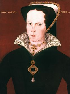 QUEEN MARY I OF ENGLAND. Queen of England, 1553-58. Oil on panel, 17th century