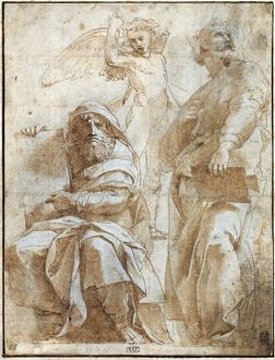 RAPHAEL: STUDY, c1510. Study by Raphael for a fresco of the prophets Hosea and Jonah