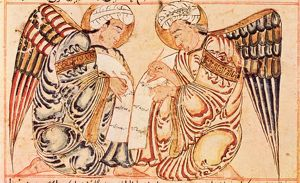 RECORDING ANGELS, 1280. Manuscript illumination from The Wonders of Creation ('Aja'ib