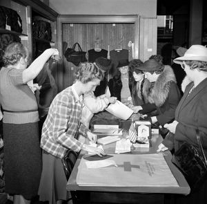 RED CROSS, 1941. Red Cross distributing knitting material in San Francisco, December 1941.