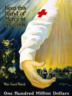 RED CROSS POSTER, 1918. American Red Cross fundraising poster promoting war funds