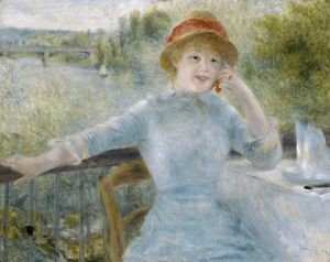 RENIOR: WOMAN SEATED, 1879. 'Woman Seated Outdoors (At the Grenouillere)