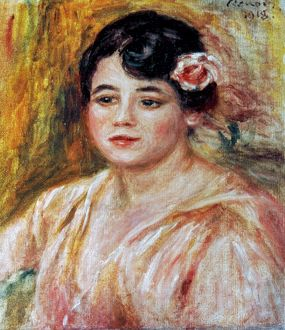 RENOIR: ADELE BESSON, 1918. Pierre Auguste Renoir: Portrait of Adele Besson. Canvas, 1918.