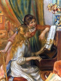RENOIR: GIRLS/PIANO, 1892. Pierre Auguste Renoir: Young Girls at a Piano. Oil on canvas