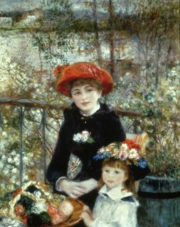 RENOIR: TWO SISTERS, 1881. Pierre Auguste Renoir: Two Sisters on the Terrace. Oil on canvas