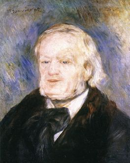 RICHARD WAGNER (1813-1883). German composer. Oil sketch, 1882, by P.A. Renoir.