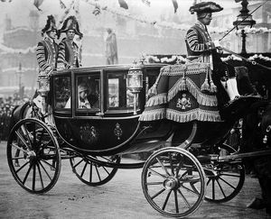 ROYAL WEDDING, 1922. Mary, Princess Royal, riding to her wedding in a royal coach