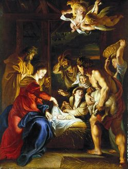 RUBENS: ADORATION, c1608. 'Adoration of the Shepherds.' Oil on canvas by Peter Paul Rubens
