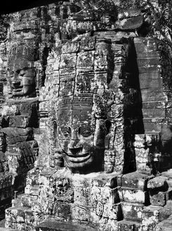 Detail from the ruins of the Bayon temple at Angkor Thom, Cambodia. Photographed in 1960.