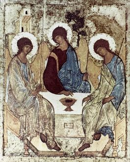 RUSSIAN ICONS: THE TRINITY. By Andrei Rublev. Wood, 1411.