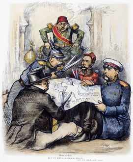 RUSSO-TURKISH WAR, 1877. 'Peace Rumors.' American cartoon by Thomas Nast, 1877