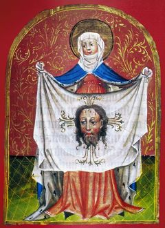 Saint Veronica and her cloth. Illumination from a 15th century German manuscript.