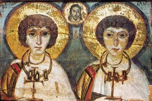 SAINTS SERGIUS AND BACCHUS. Byzantine icon of Saint Sergius and Saint Bacchus