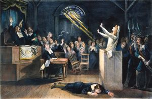 SALEM WITCH TRIAL, 1692. A witch trial at Salem, Massachusetts, in 1692: lithograph