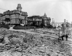 SAN FRANCISCO EARTHQUAKE. The edge of the burned district, corner of Franklin